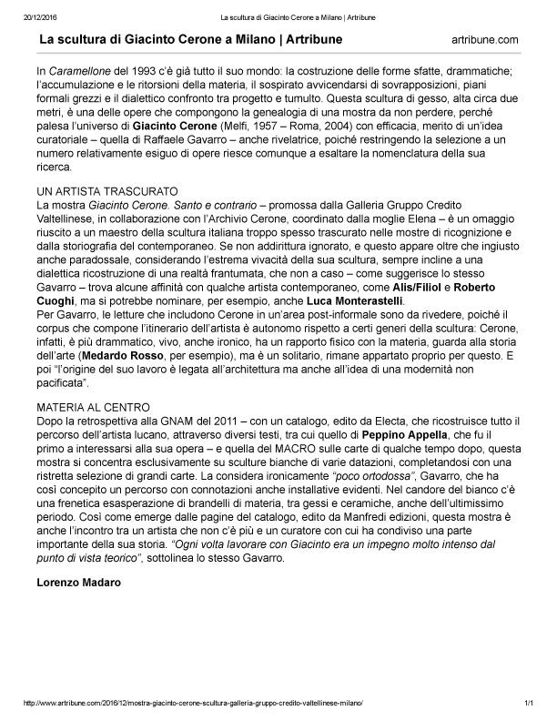 La scultura di Giacinto Cerone a Milano _ Artribune